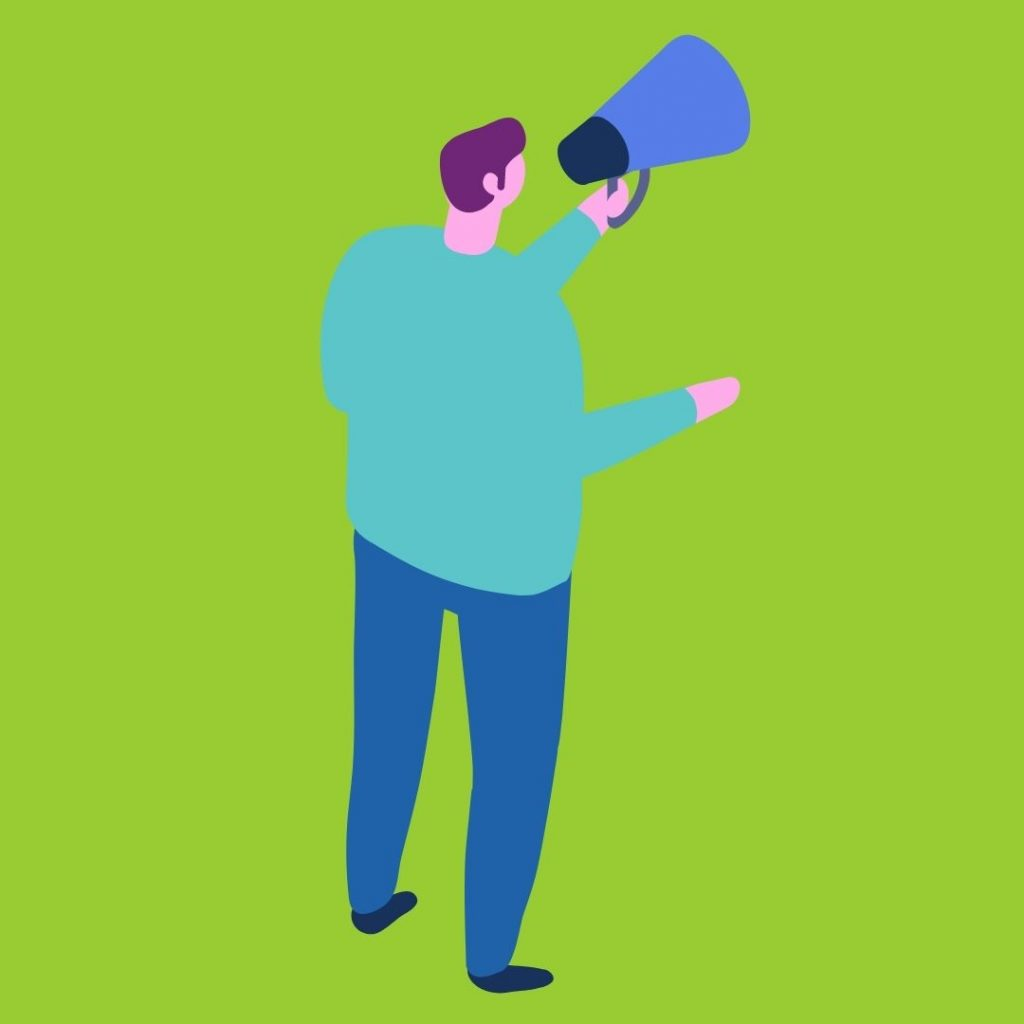 An illustration of a person with a megaphone